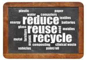 reduce, reuse, recycle word cloud on a vintage blackboard